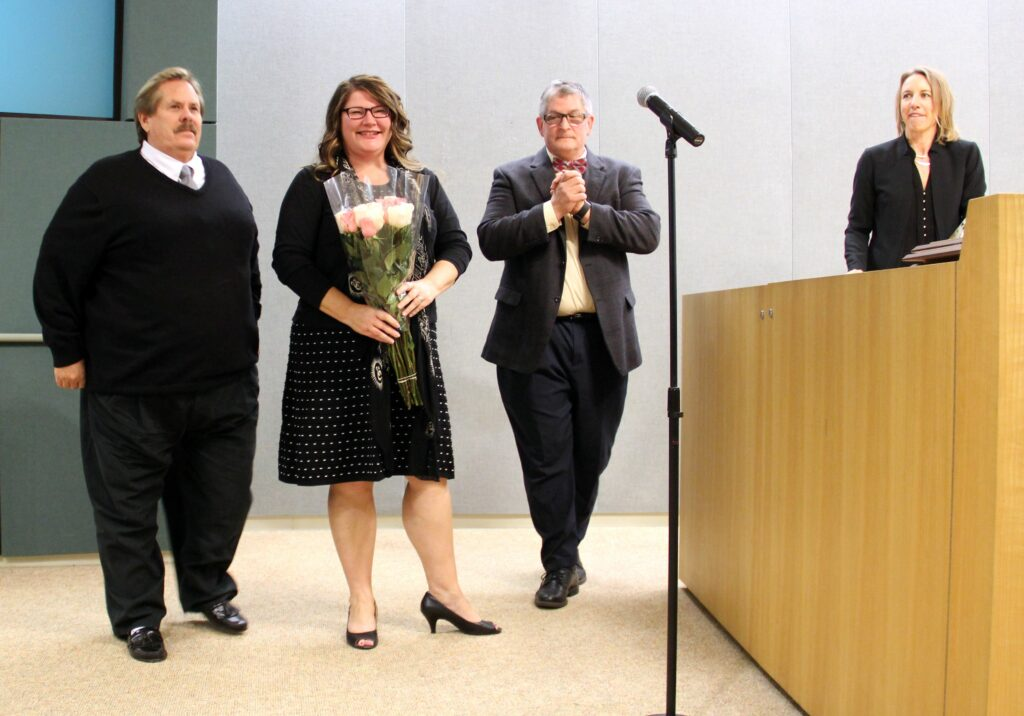 Four of us were sworn in, (l. to r.) Mark Muir, Tasha Boerner Horvath, Tony Kranz and me.